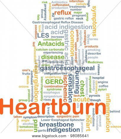 Background concept wordcloud illustration of heart burn