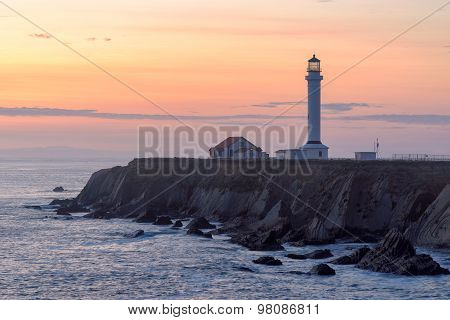 Point Arena Lighthouse at sunset.