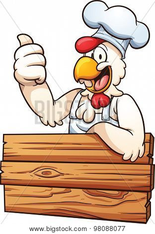 Cartoon chicken chef with a wooden sign. Vector clip art illustration with simple gradients. All in a single layer.