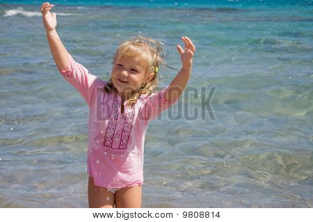 The Little Girl On Seacoast