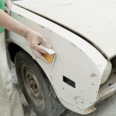 Car body work auto repair paint after the accident. poster