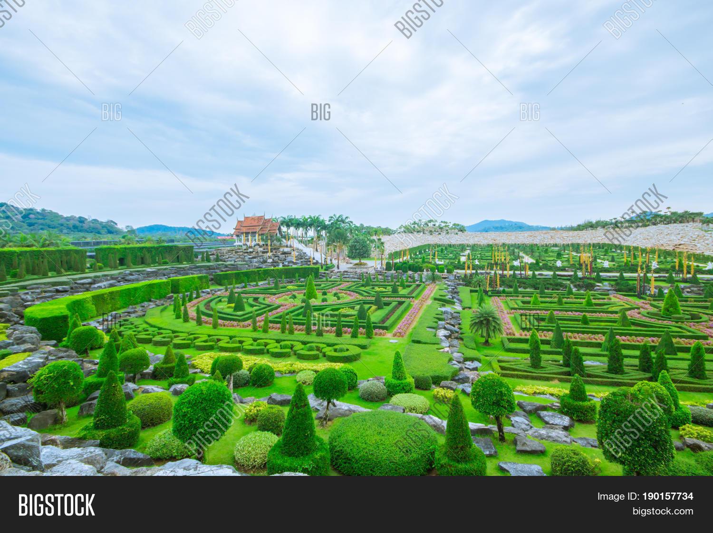 Pattaya THAILAND April 2017 : French garden at Nong Nooch Garden Pattaya.