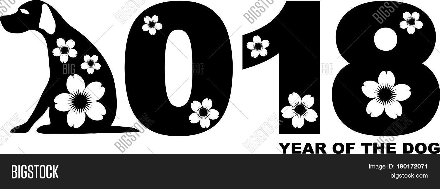 2018 Chinese Lunar New Year Of The Dog Numeral Cute Silhouette And Flowers Motif Vector