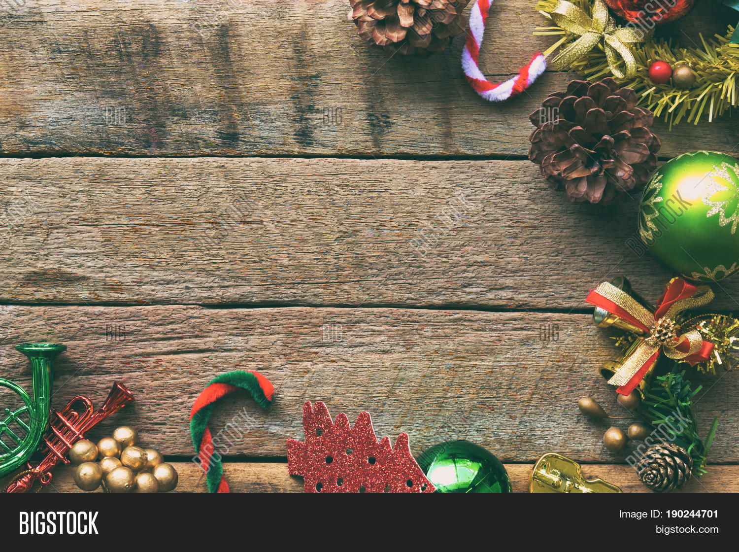 Christmas Theme Background In Vintage Tone Rustic Wood For With Copy Space