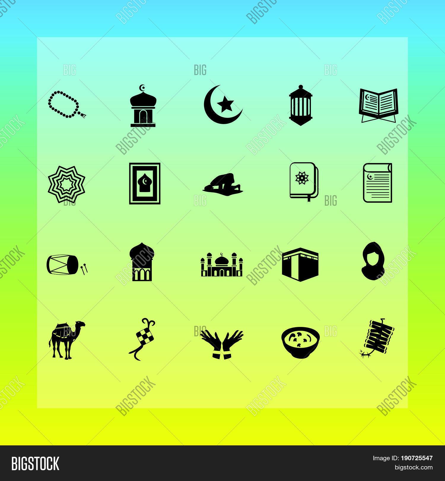 Islamic muslim concept flat icons vector photo bigstock islamic muslim concept flat icons for ramadhan hajj eid mubarak eid al fitr m4hsunfo