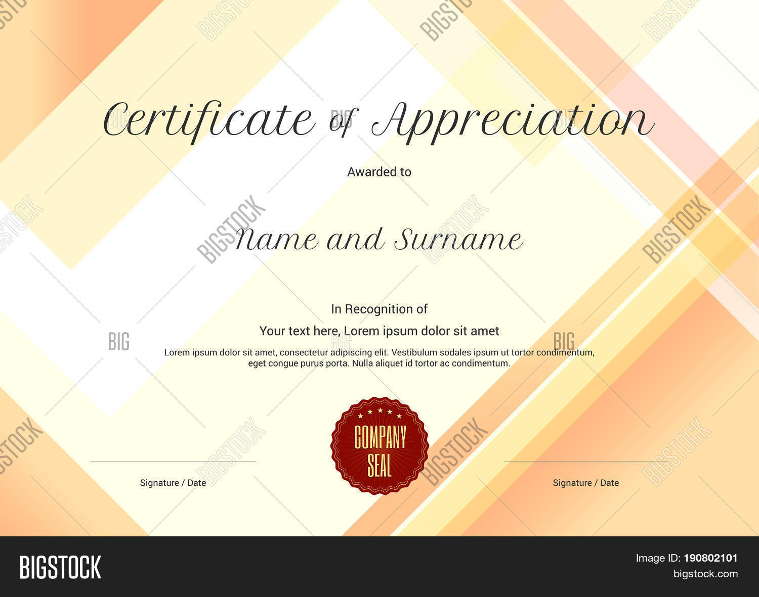 Modern certificate appreciation vector photo bigstock modern certificate of appreciation template with modern colorful pattern in vector illustration yadclub Image collections