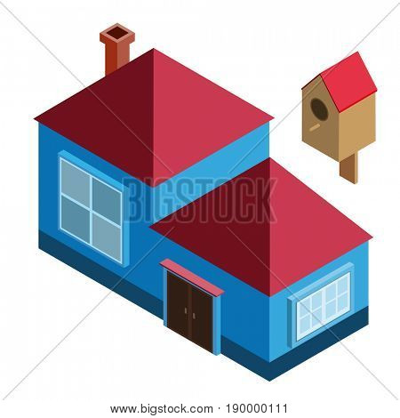 Isometric house for a city, summer residence. Four-story roof, windows, door, chimney, birdhouse. Icon design for game, card, print, ets. Isolated on white background.