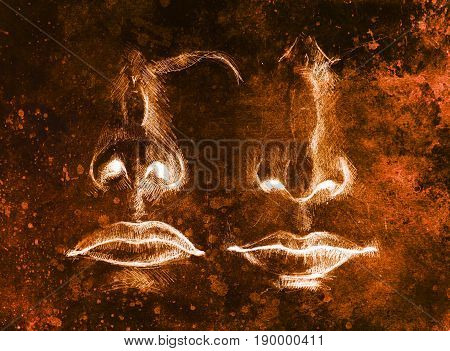 artistic sketch of face parts, nose and mouth, on colorful structured abstract background