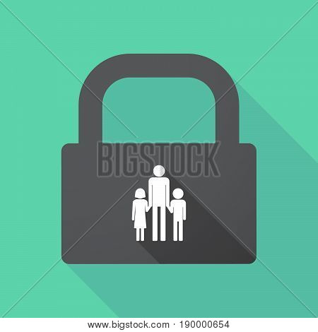 Long Shadow Pad With A Male Single Parent Family Pictogram