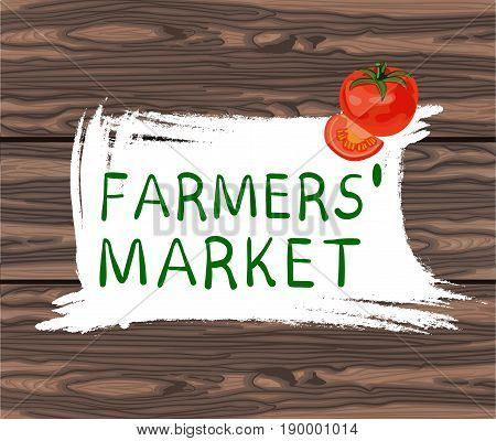 FARMERS MARKET handwritten text in square hand drawn frame. VECTOR illustration on brown background. with tomato