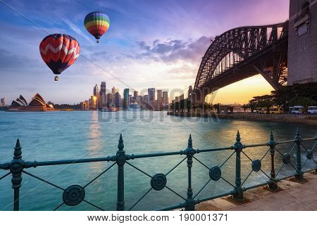 Hot Air Balloon Over Sydney Bay In Evening, Sydney, Australia