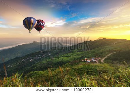 Hot Air Balloon Over Phu Tab Berk Hill In Phu Hin Rong Kha National Park, Phetchabun Province, Thail