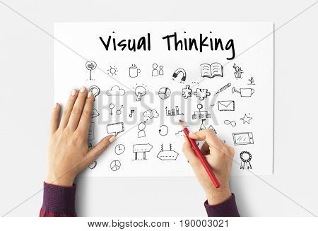 Visual Thinking Doodles Art Creative Design Icon Vector Graphic Illustration