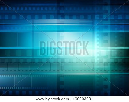Old movie background blue toning, vector illustration for your design