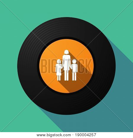 Long Shadow Music Disc With A Female Single Parent Family Pictogram