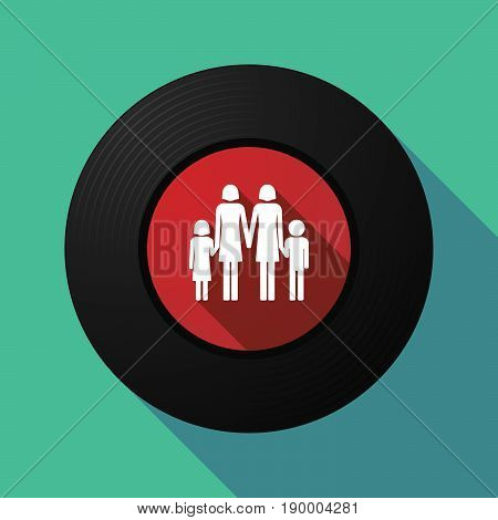 Long Shadow Music Disc With A Lesbian Parents Family Pictogram