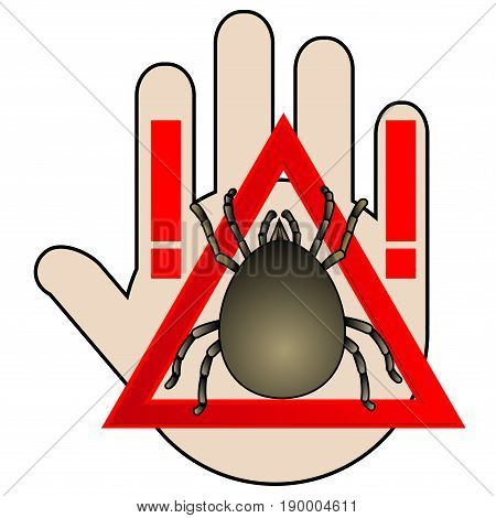 Caution acarus. Caustic sign. No Ban or Stop signs. Stop the spread of encephalitis and viral diseases. No Icon with hand. Mite warning sign. Vector illustration