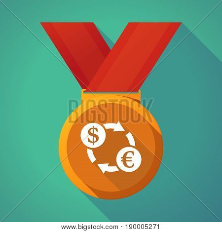 Long Shadow Medal With A Dollar Euro Exchange Sign