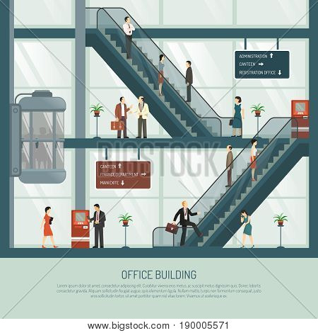Business office building background with profile view of office block with escalators elevator and people characters vector illustration
