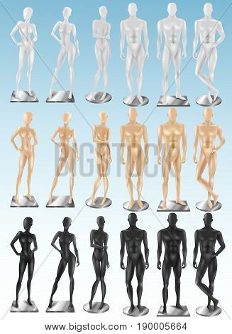 Retail window display 3 colored realistic fashion female and male full body mannequins collection isolated vector illustration