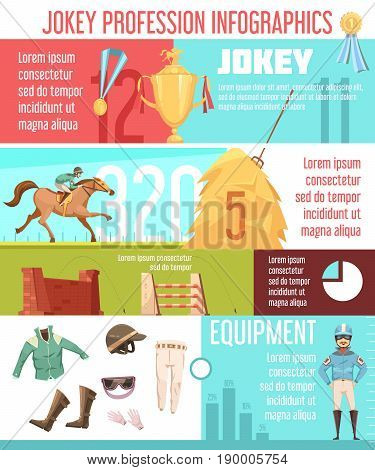Jockey profession infographics layout with equestrian ammunition icons and horse riding information flat vector illustration