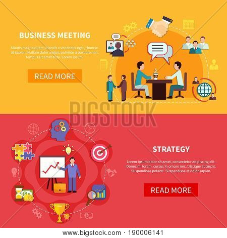 Business banners set with group meeting and strategy planning images with text and read more button vector illustration