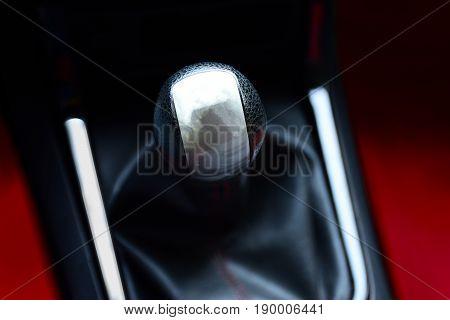 Gear stick for manual transmission for driving in car. automotive part concept. illustration design.