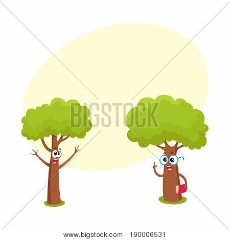 Two funny tree characters, one in round glasses holding book, another throwing up branches as hands, cartoon vector illustration with space for text. Couple of funny tree characters, mascots