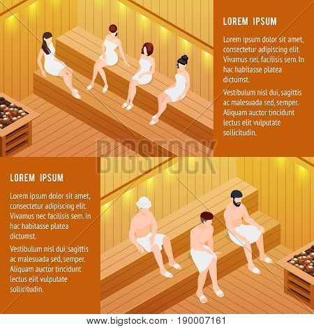 Sauna horizontal isometric banners set with men and women isolated vector illustration