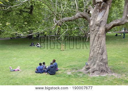 London United Kingdom 6 may 2017: family sits on the grass of london st james's park on spring day near large old tree