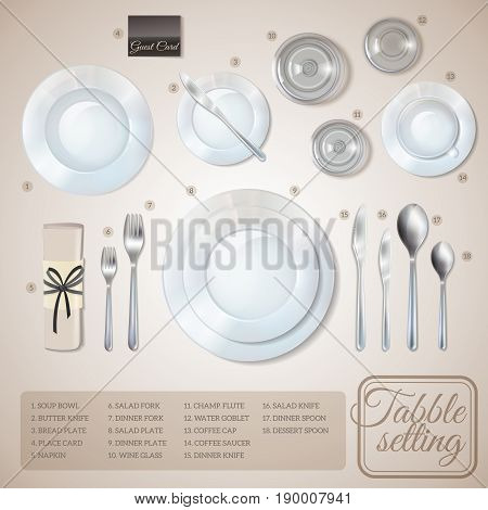 Table setting top view infographics with information about dishware and cutlery on beige background vector illustration