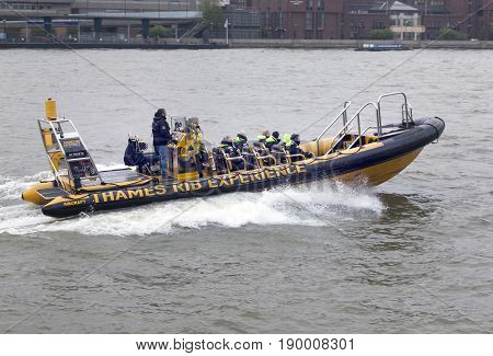 London United Kingdom 6 may 2017: boat of thames rib experience on river thames in london with tourists