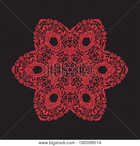 Embroidery mandala. In red on black background. Stock line vector illustration.