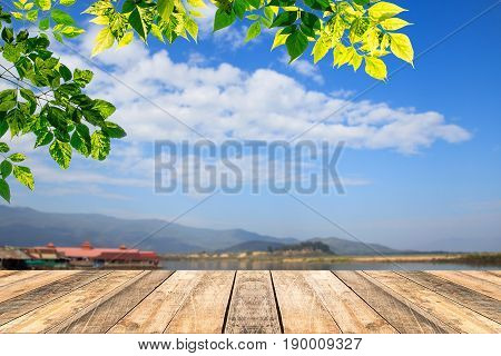 Green leaves and wooden table with blured blue sky background.Copy space for design