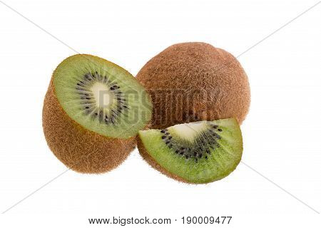 Kiwi Fruit And Kiwi Sliced Isolated On A White Background