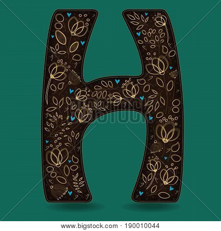 The Letter H with Golden Floral Decor. Dark brown symbol. Yellow flowers and plants with metallic blazing effect. Blue small hearts. Vector Illustration