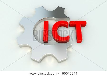 ICT gear wheal white background 3d illustration