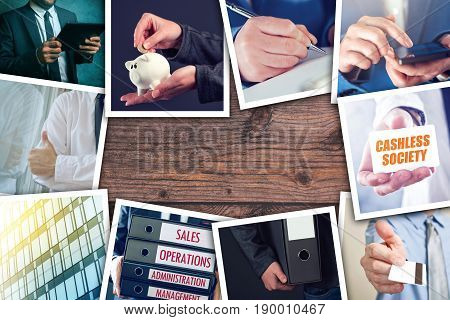 Business and entrepreneurship photo collage over wooden office desk background