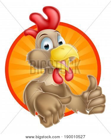 A cute cartoon chicken mascot giving a thumbs up