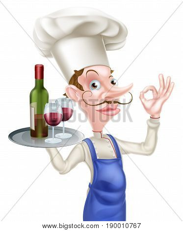 An illustration of a cartoon chef character holding a tray with a bottle of wine and two wine glasses and doing a perfect or okay sign
