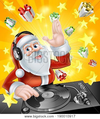 Cartoon Christmas Santa Claus DJ with headphones on at the record decks with Christmas gift presents in the background