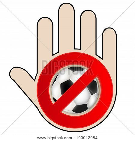No play or football sign with hand. Vector illustration