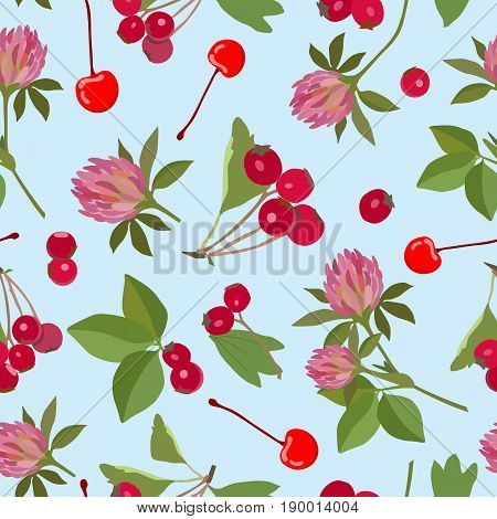 Vector pattern with clover flowers, hawthorn berries and cherries on a blue background.