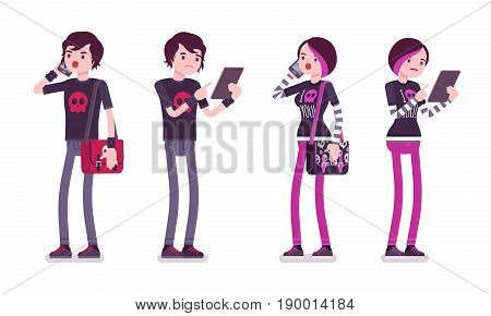 Emo boy and girl, true subculture look, skinny pants, black t-shirt, messenger bag, choppy hairstyle, with phone and tablet. Vector flat style cartoon illustration, isolated, white background