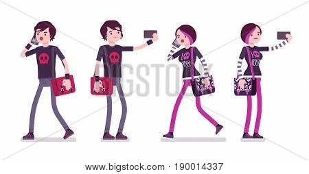 Emo boy and girl, true subculture look, skinny pants, black t-shirt, messenger bag, choppy hairstyle, with phone, making selfie. Vector flat style cartoon illustration, isolated, white background