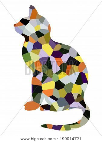 Abstract art cat illustration isolated on white background