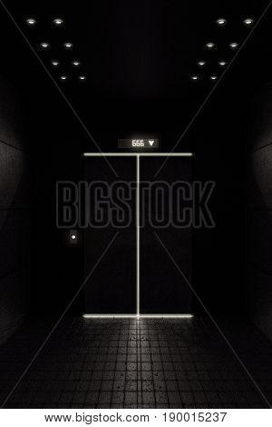 3d illustration of the hell elevator door