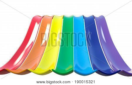 3d illustration of a rainbow slide isolated on white background