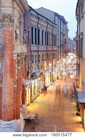 Night Scene Of The City Of Vicenza In Italy With Christmas Light