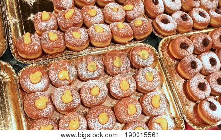 Sweet Creamy Donuts For Sale In Pastry Shop